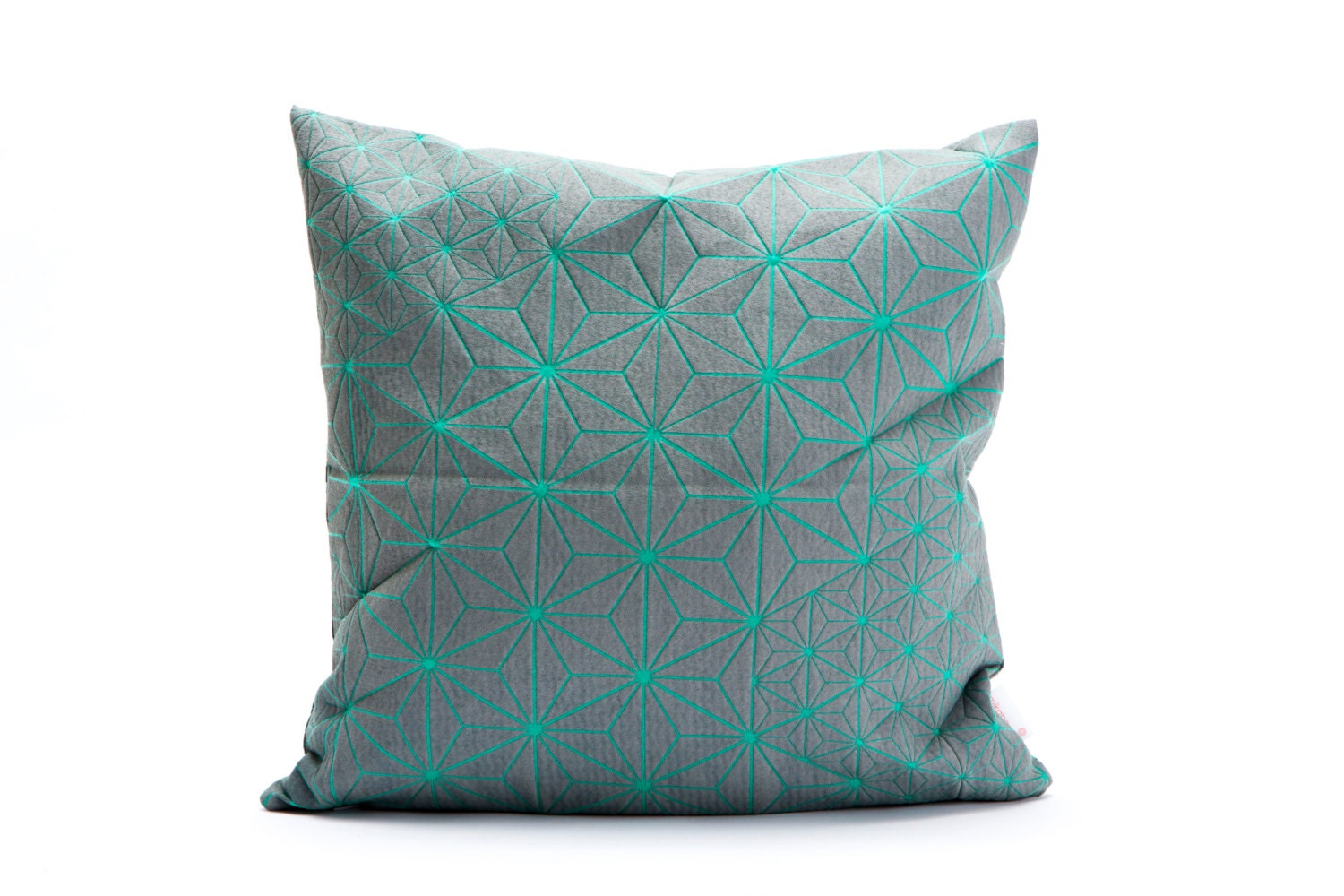 Throw Pillow Turquoise : Turquoise & grey designer throw pillow cover 15.7x15.7.