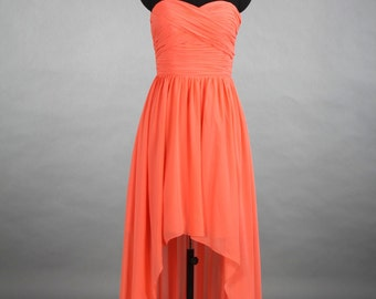 Coral High-Low Sweetheart Bridesmaid Dress, Asymmetrical Chiffon Bridesmaid Dress Dress With Ruffle
