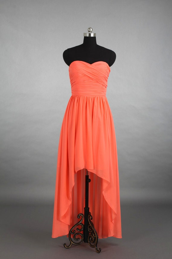 Coral High-Low Sweetheart Bridesmaid Dress Asymmetrical