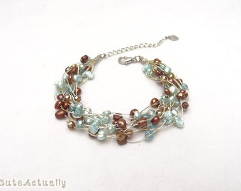 Blue brown freshwater pearl bracelet with crystal on silk thread, multistrands
