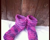 Pink and Purple Hand  Knit Mukluk Slippers Custom Made To Order FREE SHIPPING