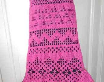 Crochet Skirt Long Cotton Skirt Gypsy Skirt Maxi Skirt Floor-Length Skirt Raspberry FREE SHIPPING