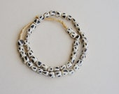 black and white triangle bone barrel beads (1 strand), African beads, tribal beads, bohemian beads,Spiritual Jewelry Making Supplies