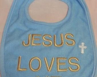Jesus Loves Me Bib (blue)
