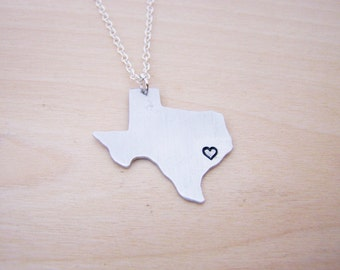 Hand Stamped Heart Texas State Sterling Silver Necklace / Gift for Her