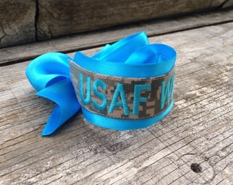 USAF WIFE bracelet / Air Force / Military / ABU / Name Tape Bracelet