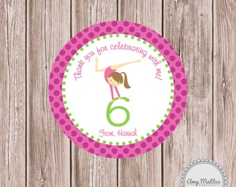 Flip on Over Gymnastics Favor Tag or Sticker Pink Gymnast PRINTED