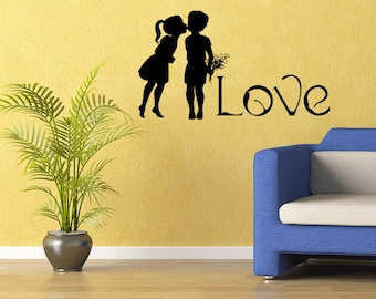 Love Vinyl Decal Romance Silhouette Art Quote Decal First Love Quote (373)