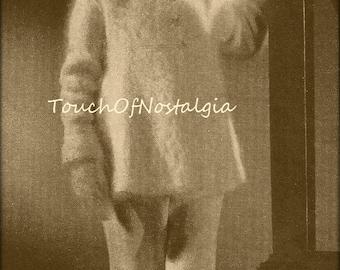 Girls ANGORA COAT/BONNET Vintage Knitting Pattern - Toddlers Little Princess Flared Angora Coat Matching Wide Brim Bonnet-Special Occasion