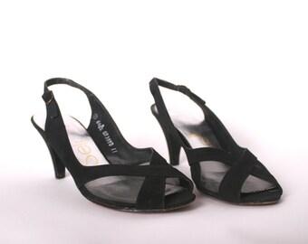 size 6.5 Vintage Black Heels // Black Slingback Heels // Womens Peep Toe Shoes
