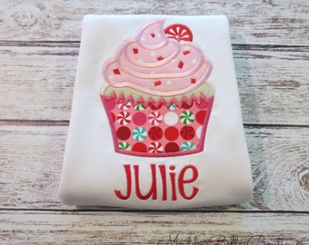 Fun Girly Peppermint Cupcake Appliqued Shirt - Embroidered Shirt, Personalized, Monogram, Holiday, Christmas, Girls, Toddler, Cupcake Shirt