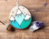 Teal Mountains Wood Slice Ornament, Wood-Burned Ornament, Rustic Wood Ornament Natural Decor, Winter Solstice Reclaimed Sustainable Decor