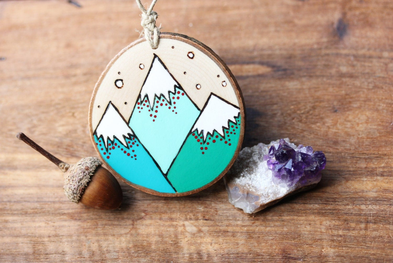 Teal mountains wood slice ornament burned