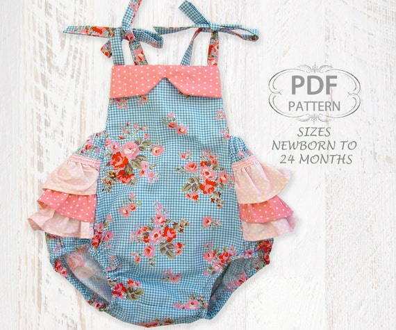 Baby Sewing Pattern For Romper PDF Sewing Pattern For Baby Girls  Sewing Pattern Overalls