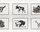 Set of 6 Prints . Instant Art Collection . Print from Original Watercolor . Black White Modern . Print Set