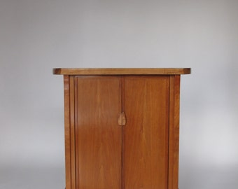 Cherry Bar Cabinet: Narrow Wood Bar/ Liquor Cabinet/ Dry Bar for the home, Bar Storage/ Small Hutch- Handmade Wood Furniture