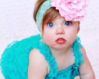 teal and pink baby girl outfit, baby romper,petti romper,baby headband,first birthday photo outfit,headband and lace petti romper