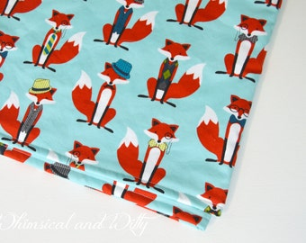 Foxy Baby Blanket - Aqua and Red Fox Print - Toddler Blanket - Minky Backed