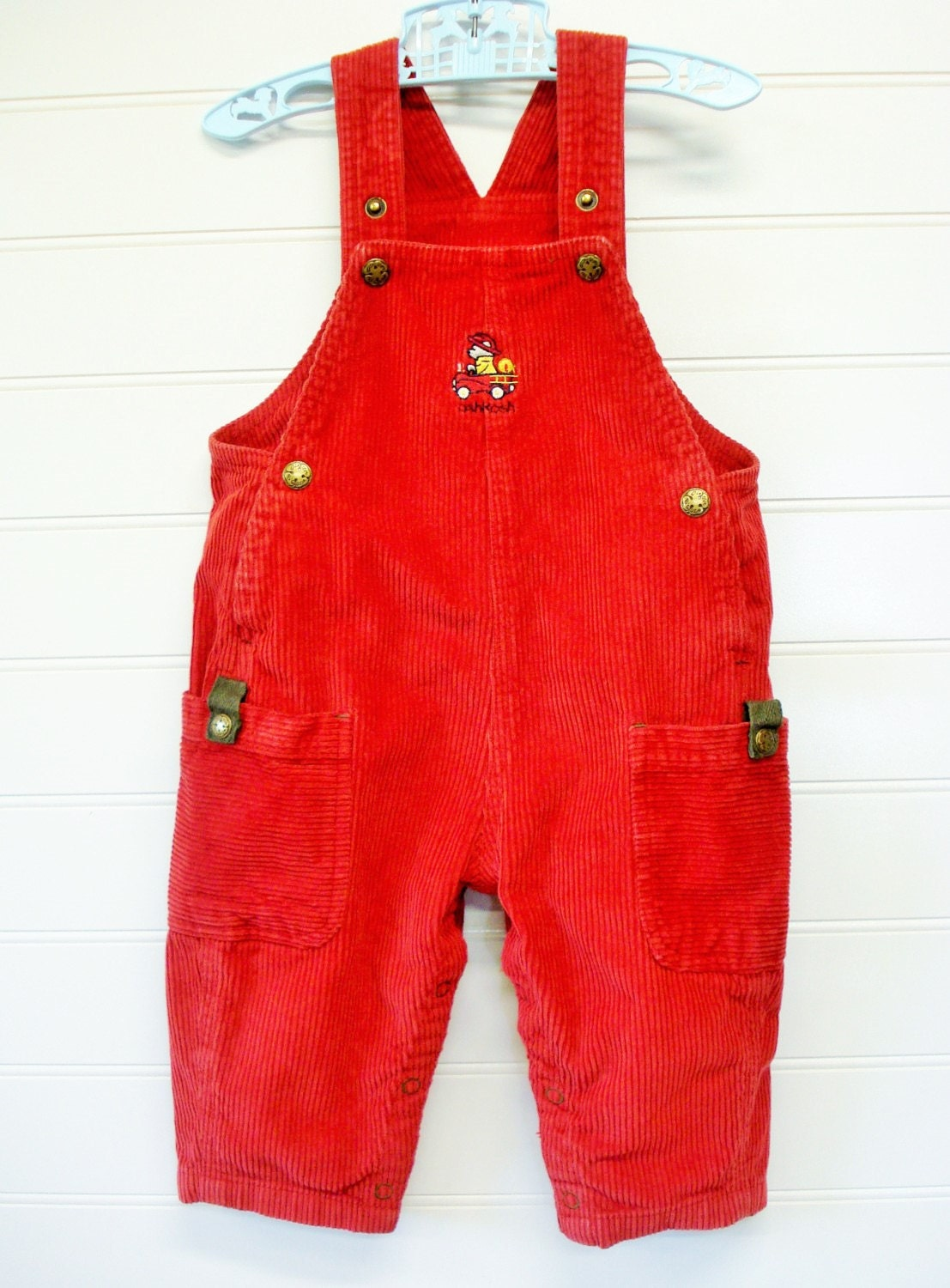 Vintage Baby Clothes Baby Boy Corduroy Overalls In Red Osh
