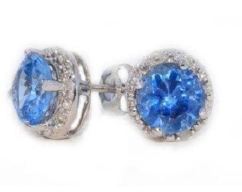 14Kt White Gold Blue Topaz & Diamond Round Stud Earrings