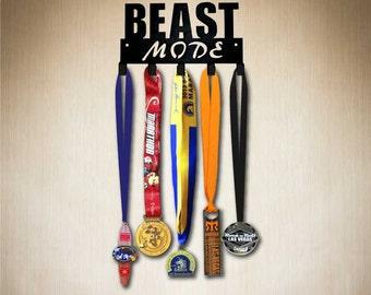 Medal Rack - Beast Mode Running Medal Holder,by SportHooks, Medal Display 5 hooks, Larger 10 hook size available:www.sporthooks.com