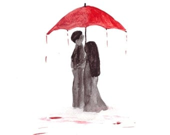 Love couple with red umbrella, original watercolour painting, romance painting, love couple, red umbrella