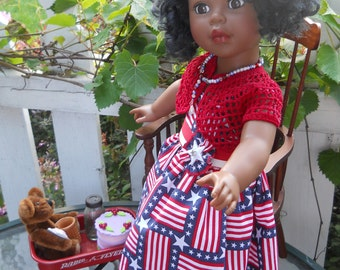 American girl doll patriotic red, white and blue spring sundress with matching bolero sweater by Grandma B