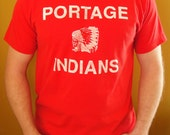 1990's Red Portage Indians Graphic Tee. Indiana Tshirt. Unisex. Mens Large. Womens XL