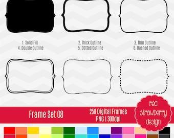 75% OFF Sale - Frame Set 08 - 258 Digital Clip Art - Instant Download - PNG (CA138)