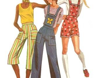70s Simplicity 9375 Vintage Sewing Pattern ROLLER GIRL Shorts Hot Pants Gauchos Detach Bib Highwaist Pants Coveralls Kawaii  Waist 27 UNCUT