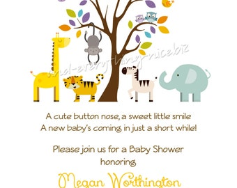 Zoo Animal Tree Baby Shower Birthday Invitations | Custom Design | Professionally Printed Card Stock | Boy Girl Twin Sibling Stationery Best