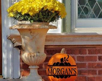 Family Name Pumpkin Decal, Halloween, Holiday Decor, Thanksgiving Decor, Front Porch Decor