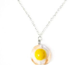 Fried Egg Necklace - Kawaii Necklace, Miniature Food, Breakfast