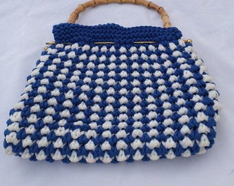 Vintage 1960s blue and white woven handbag evening bag with bamboo handle