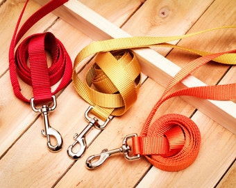 Dog Leash - Webbing Dog Lead, Heavy Duty, Long Leash, Long Lead, Orange, Red, Gold