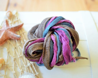 Hand dyed Silk Ribbon Mix of 6 crinkle silk and cords