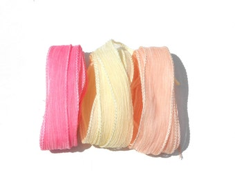 Hand dyed Silk Ribbon for bracelet necklace - Set of 3 - shabby chic colors