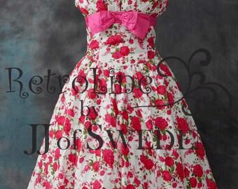 Petal bust. Handmade designer dress. Flower print 50's Rockabilly Swing dress . XL Plus size