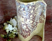 Handmade Asymmetrical Ceramic Vase With Lace Doily Print/Texture - AimlesslyWandering