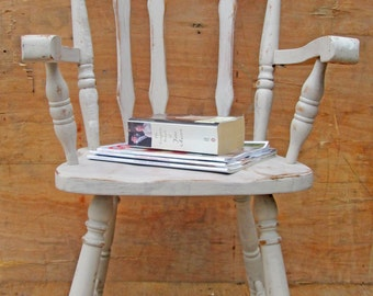 Rustic white wooden chair. bedside table. mix & match chairs in your dining/kitchen.. bedroom furniture (pick up only)
