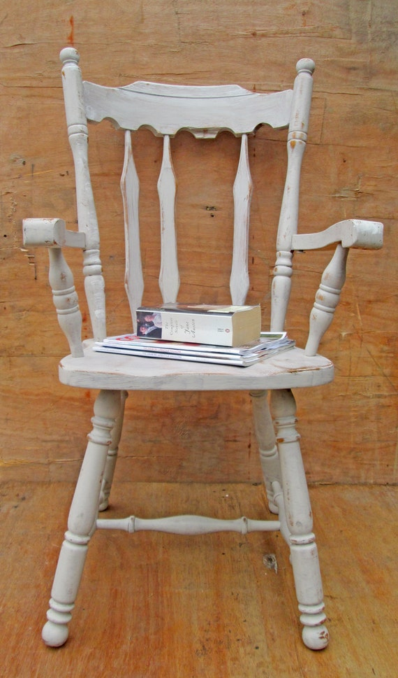 Rustic Wood Bedside Table: Rustic White Wooden Chair. Bedside Table. Mix & By