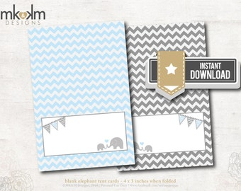 Elephant Baby Shower :Tent Cards - Place Cards - Food Card - Boy Shower- Birthday- Chevron- INSTANT DOWNLOAD - #1202 Blue and Gray