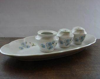 Soviet Vintage Oval Serving Plate White blue Floral Serving Platter with condiment set Porcelain serving dish USSR 1970s