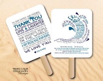 Personalized Wave | Beach | Seaside | Surfing Wedding Ceremony Program Fan - Digital File