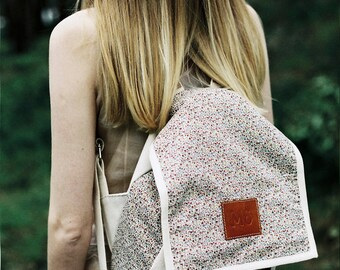 Floret Print Backpack, Canvas and Leather Backpack, Printed Fabric, Tiny Flowers, Women's Backpack