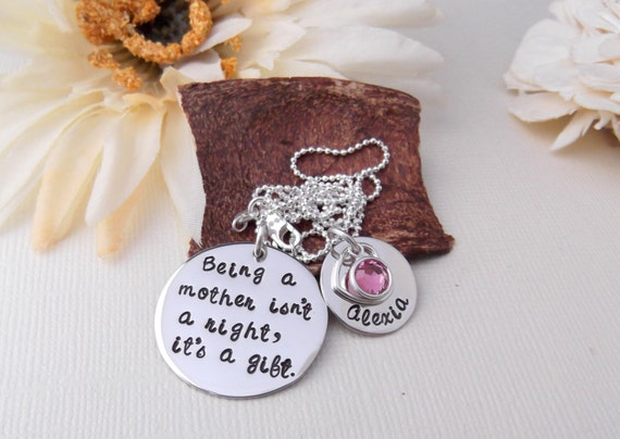 Personalized Mommy Necklace- Mommy Jewelry- New Mom Necklace-  Hand Stamped Jewelry- Mother's Necklace- Mother's Day Gift