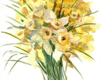 Yellow Daffodils, Original watercolor painting, 14 X 11 in, yellow spring floral art, flowers painting, grarden flowers