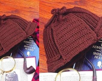 Crochet Deerstalker Hat Pattern : Detective Hat Deer stalker Hat PDF Instant Download ...