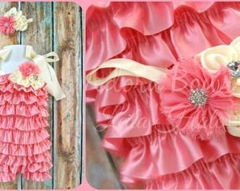 Vintage pink & cream toddler girls OSFM 1 and 2 y girls satin petti romper tea party flower girl wedding photography prop