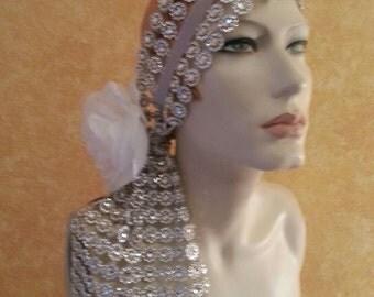 Gatsby Goddess Silver Diamond Illusion Jewel Mesh Rhinestone White Rose Bridal Headpiece Wedding Party Costume